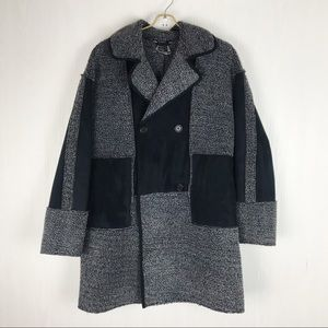 Paparazzi suede color block coat thick black grey